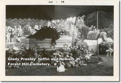 8/15/58Elvis sobbed hysterically while Gladys' favorite gospel group, the Blackwood Brothers, performed at the service in the Memphis Funeral Home, and he was equally inconsolable at her Forest Hill Cemetery grave site, crying out, 'Oh God, everything I have is gone'. Elvis leans over the grave, crying out, inconsolably, 'Goodbye, darling, goodbye. I love you so much. You know how much I lived my whole life just for you'.
