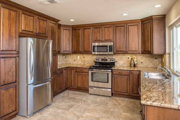 Full Kitchen Remodel With Glossed Wood Granite