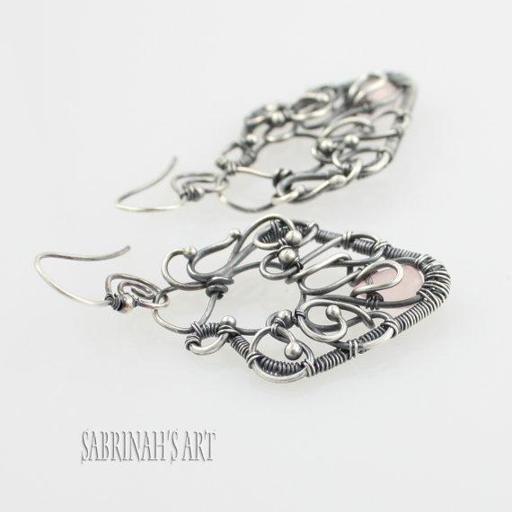 MI AMOR Rose Quartz Sterling Wire Wrapped by SabrinahsArtLLC, $192.00