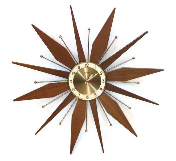 Vintage Starburst Wall Clock   Sunburst Teak Wood by RetroClassics