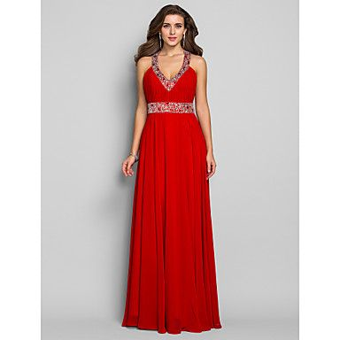 TS Couture® Prom / Formal Evening / Military Ball Dress - Open Back Plus Size / Petite Sheath / Column V-neck Floor-length Chiffon with Crystal – USD $ 89.99