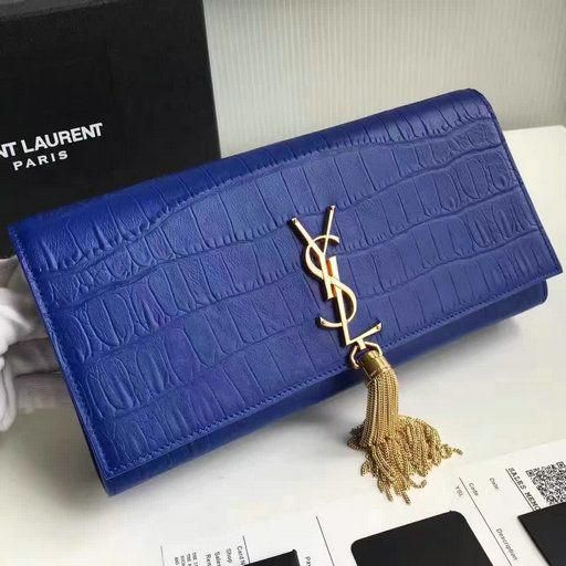 2017 New Saint Laurent Bag Sale-YSL Classic Tassel Clutch in Blue Embossed  Crocodile Leather 530a61bac3115