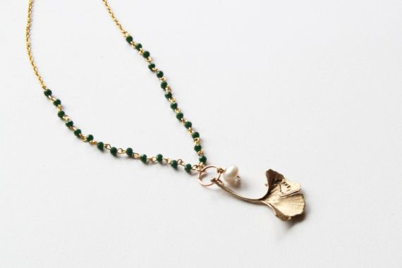 #Rosary style #pendant #christmas gold plated 14k leaf by NataliesWunderland