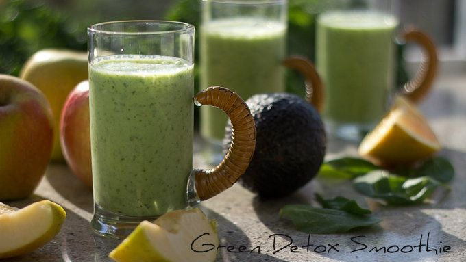 GREEN DETOX SMOOTHIE   2 cups kale, stemmed and chopped  1 cup spinach leaves  ½ avocado (optional, makes it creamier and more filling)  1 banana  1 apple, chopped (no need to peel)  1 cup orange juice, preferably fresh squeezed  1 cup fruit flavored kefir or vanilla yogurt  1 cup ice  1 Tbsp. chia seeds (optional)