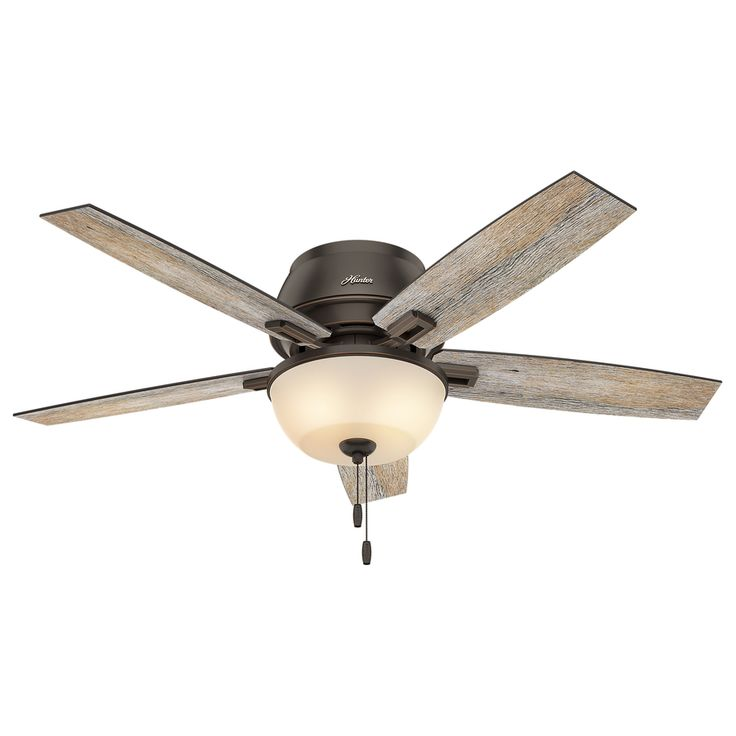 Hunter Donegan 52-in Onyx Bengal Bronze Flush Mount Indoor Ceiling Fan with Light Kit