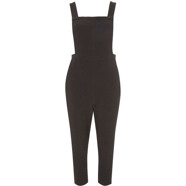 Dorothy Perkins Petite Black Dungaree Jumpsuit ($69) ❤ liked on Polyvore featuring jumpsuits, rompers, black, petite, playsuit romper, petite jumpsuit, playsuit jumpsuit, romper jumpsuit and dorothy perkins