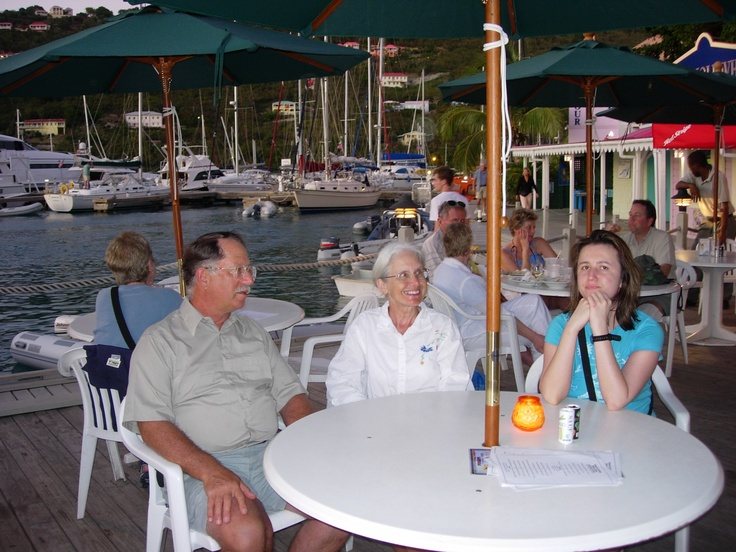 Peter, Wanda and me at Pussers in Sopers Hole, Tortola