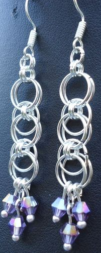 Awesome chainmail earrings.  You can choose the color you want for the crystals too!