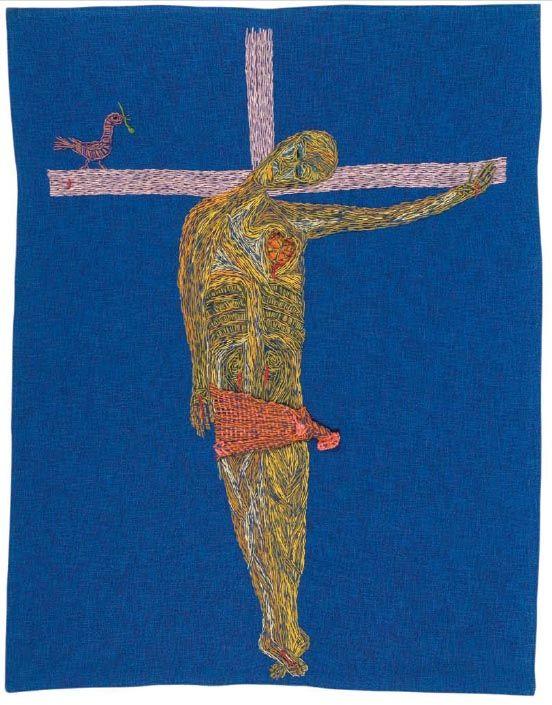 Cristo en bikini.  1964  161,5 x 125 cm.  Algodón teñido y bordado con lanigrafía.  Fundación Violeta Parra