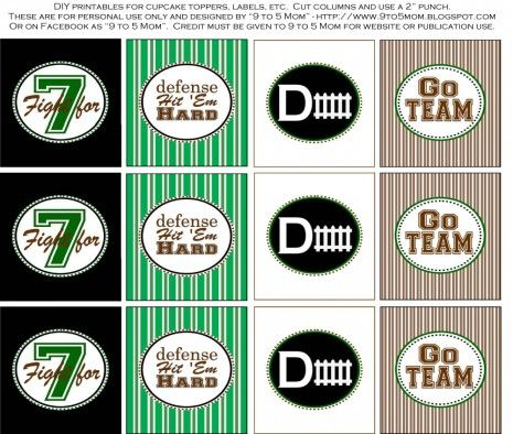 free football tailgater printables party circles