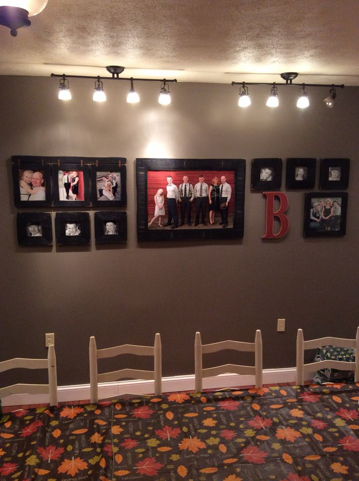 "Photo wall - pottery brn style.  Frames from allbarnwood.com... Planning to change out the red ""b"" for something a bit more to fill the space."