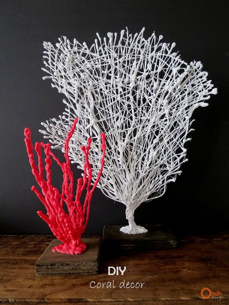 coral branch made from wire covered in hot glue and paint (I'm going going to try making a fairy tree!)