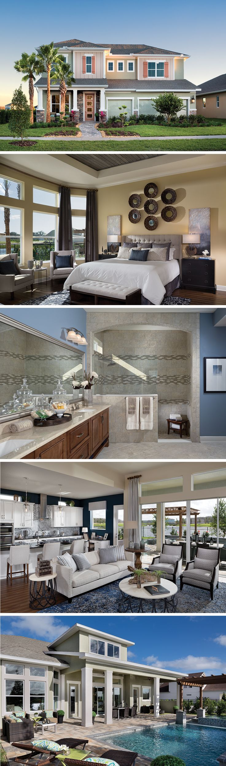 The Norchester by David Weekley Homes in Asturia is a custom home that features a lanai, an open kitchen and family room, and an owners retreat with tray ceilings. Custom home options include a bay window in the owners retreat, an extended lanai or a media room on the second story.