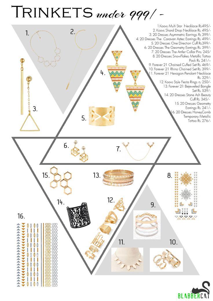 Trinkets lookbook under 999/-  www.blabbercat.com koovs 20Dresses Forever21  #trinkets #accessory #tattoo #shopping #girlpower #earings #necklace #blabbercatspecial #lookbook #meow