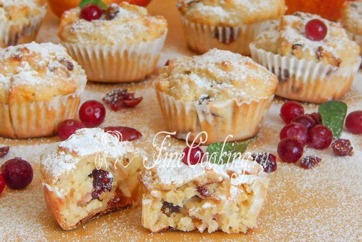 Овсяно-творожные маффины с яблоком и вяленой клюквой - рецепт с фото