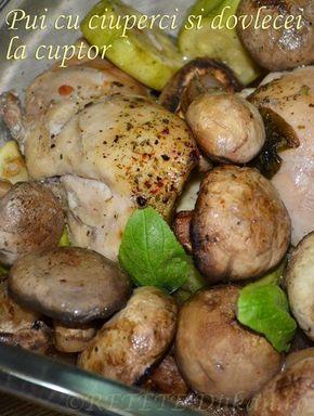 Pui cu ciuperci si dovlecei la cuptor
