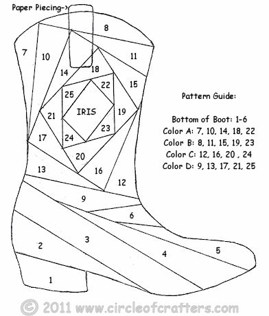 cowboy boot paper piecing pattern.  Santa didn't bring me Frye boots for Christmas, I guess this will have to do...............