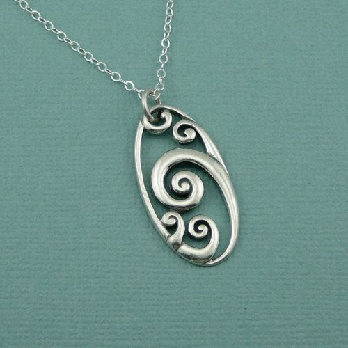 Wave Necklace, sterling silver , zen necklace , sterling silver, handmade, pendant. $42.00, via Etsy.