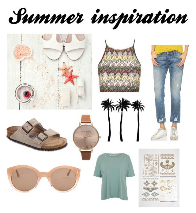 """Summer"" by fridasaaa on Polyvore featuring NSF, Birkenstock, Olivia Burton, Acne Studios, Topshop, Dot & Bo, Illesteva, women's clothing, women's fashion and women"