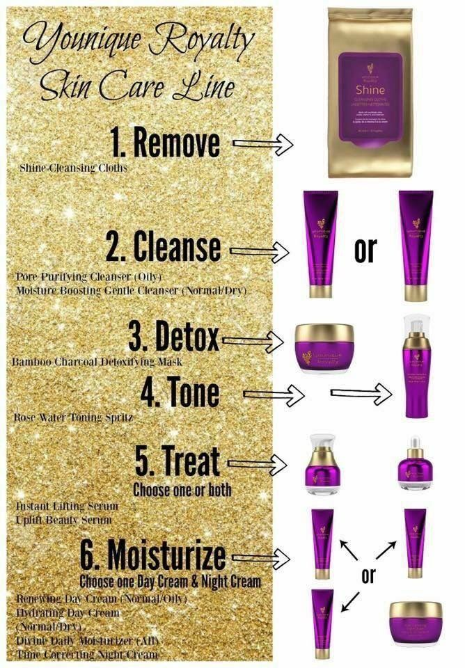 Give your skin the royal treatment! Remove, Cleanse, Detox, Tone, Treat & Moisturize with Younique's Royalty Skincare Line! Www.youniqueproducts.com/michellewithees