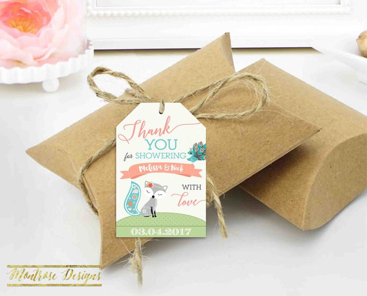 Thank You Tag, Fox Baby Shower Thank You Tag, Baby Fox Tag, Fox and Peacock, Teal and Coral, Baby Shower Thank You Tag DIGITAL FILE by montrosedesigns on Etsy https://www.etsy.com/listing/500015852/thank-you-tag-fox-baby-shower-thank-you