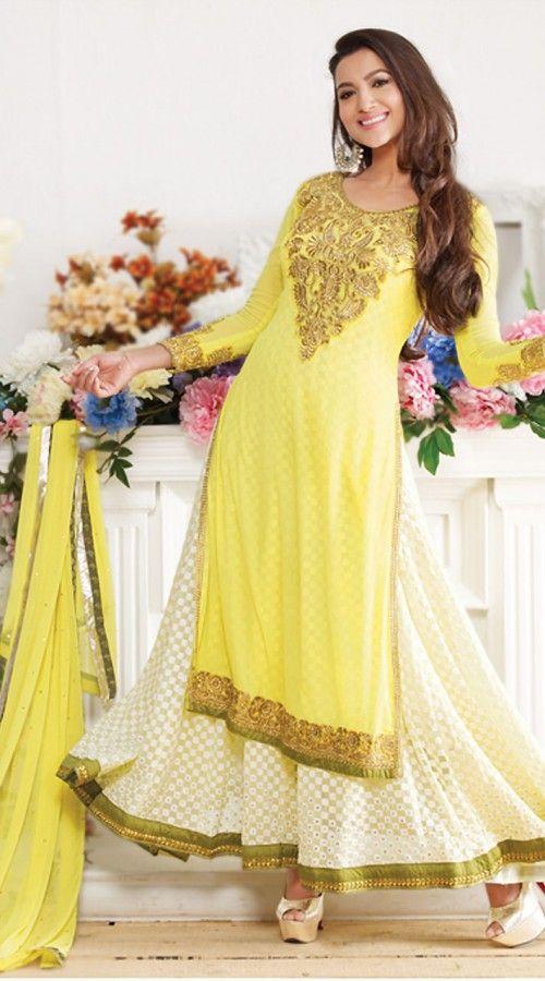 Gauhar Khan In Light Yellow Anarkali Suit BR150449