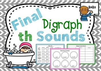 This pack will help your students learn and consolidate the final digraph th sounds.  In this pack-Coloured th posters- th poster printable- Color the th sound-Trace and Write- Match It up- Draw the th words- Cut and paste - handwriting th practice- x 6 th practice pages- Stamp it and Write it- Colored th pictures for write the room- Write the room printable- th Puzzles x 2 pages- Puzzle Mat- Puzzle printable- Other th words- Spelling list/ test printableHow to Get TPT credit to use on…