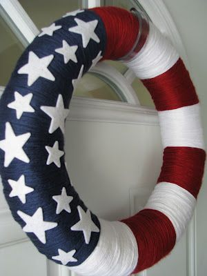 American Flag Yarn Wreath