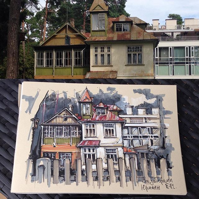 За заборами Юрмалы🏘#arch_grap #sketch_architect#sketch_book#sketch_arch#sketchwalker#jurmala#ar_sketch#art_we_inspire#art_empire#sketchzone#пленер#архскетч#маркеры#линер#дворы#юрмала#скетчбук#скетчинг#улицыгорода