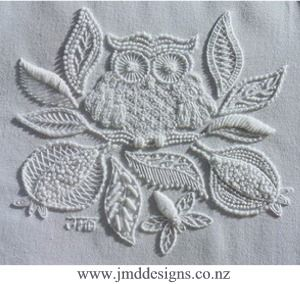 A true sampler of stitch compositions. The two Pomegranates and the Bee keep the Owl company in his roost.