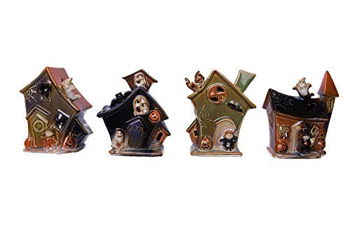 Fun Haunted House Shaped Halloween Tea Light Holder with Witches Ghosts and Pumpkins  Variety 4 Pack Bundle >>> Learn more by visiting the image link.Note:It is affiliate link to Amazon.