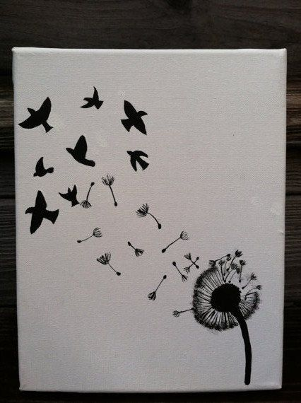 Original Canvas Painting - Dandelion and Birds on Etsy, $21.00