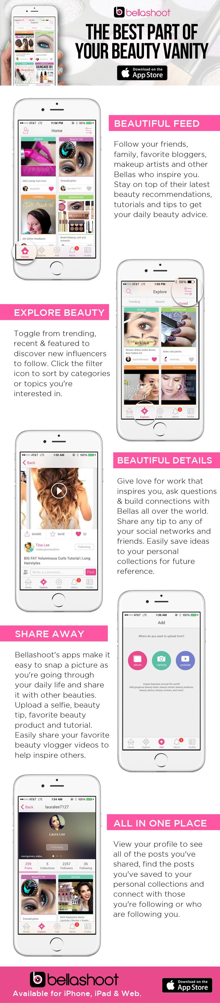 """Love beauty tips, tutorials, reviews and more? Download Bellashoot's beauty app for free (link in profile) or lookup """"bellashoot"""" on the App store."""