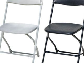 High Quality White or Black Folding Chairs $3.50  White Folding Chair – Steel Frame and PVC Seat  Max Recommended weight is 100kg  Free delivery and set up with any Marquee Hire