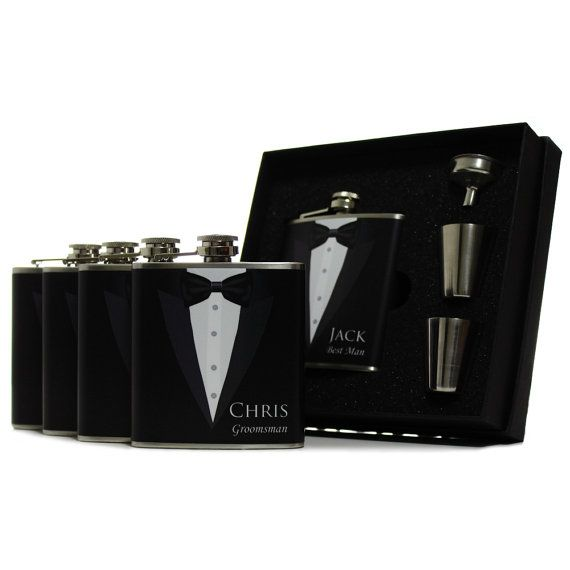 Our personalized black tuxedo flask gift sets are fantastic wedding favors for your groomsmen. Every flask can be personalized with a groomsmans