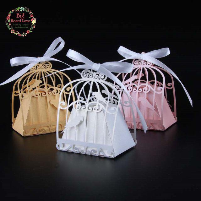 2017 Новый 50 шт. птичья клетка свадьбы пользу box love birds конфеты коробка свадебные сувениры и подарки свадебные украшения коробка подарка для свадьба