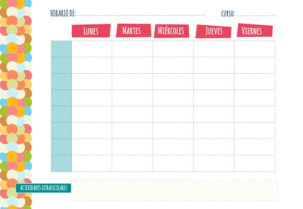 Plantilla horario escolar para imprimir. Hay más en: http://dibujos-para-colorear.euroresidentes.com/2013/08/plantilla-de-horario-semanal.html
