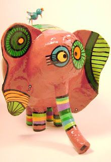 Opa! objetos de papel maché y cartapesta: Elefante