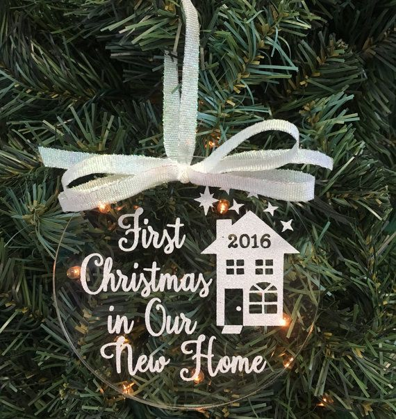 Celebrate your 1st new home with a personal touch! First Christmas in Our New Home can be for a newlywed couple, first home, or first new home. This ornament makes the perfect housewarming gift. Our new Glittered Floating Ornament series is beautifully created using the highest quality iridescent glittered vinyl designed on a sparkling clear acrylic disc. Photos dont come close to showing the of lustrous colors like those of the rainbow. When the lights of the Christmas tree hit the glitter…