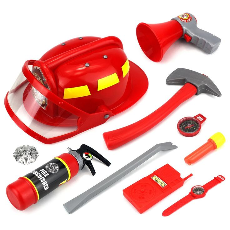 Outfit your little rescuer with this firefighter dress-up set to encourage imaginative play. A toy helmet, fire extinguisher, and other accessories let your child act out exciting scenarios. Age: 3 &