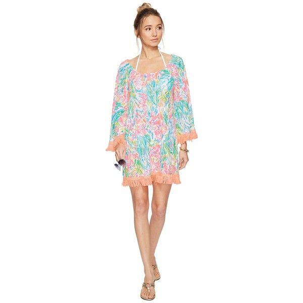 Lilly Pulitzer Getaway Cover-Up (Multi Fan Sea Pants) Women's Dress ($118) ❤ liked on Polyvore featuring swimwear, cover-ups, fringe bikini, bikini cover ups, off-the-shoulder swimwear, cover up swimwear and lilly pulitzer cover up