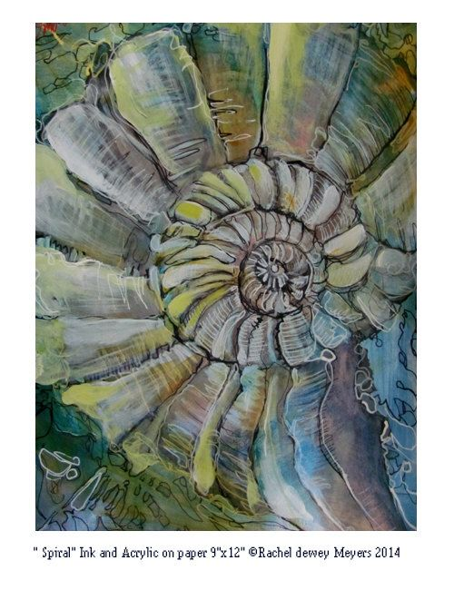 abstractsea shell drawing of ocean life by TheBloomingWall on Etsy, $50.00