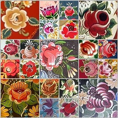 Bauernmalerei,bavarian folk art.Rose's painting styly.Collage