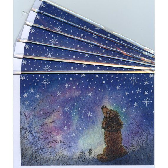 6 x Poodle dog holiday greeting cards  starry night
