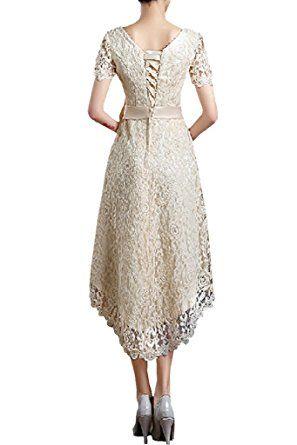 Wunderschöne Braut elegante kurze V-Ausschnitt A-Linie Satin Spitze Brautkleid Hochzeit … – Hochzeit & Wedding  <3