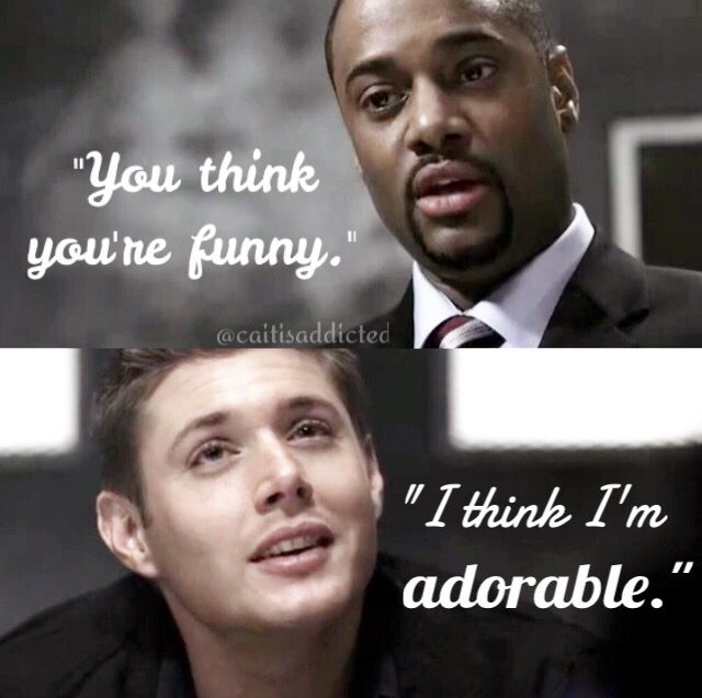 """You think you're funny."" ""I think I'm adorable."" Season 2 episode 19 'Folsom Prison Blues' #supernatural #deanwinchester"