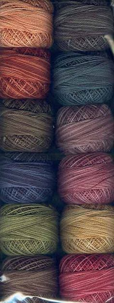 These feel like fall colors. Heirloom Collection Perle Cotton, size 12