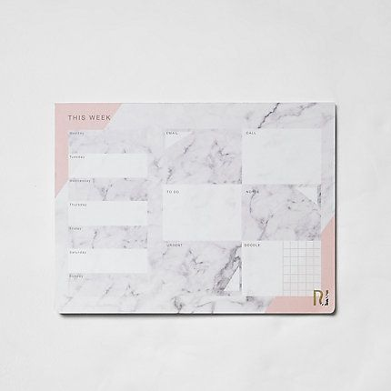 Grey marble print A4 desk planner pad from River Island