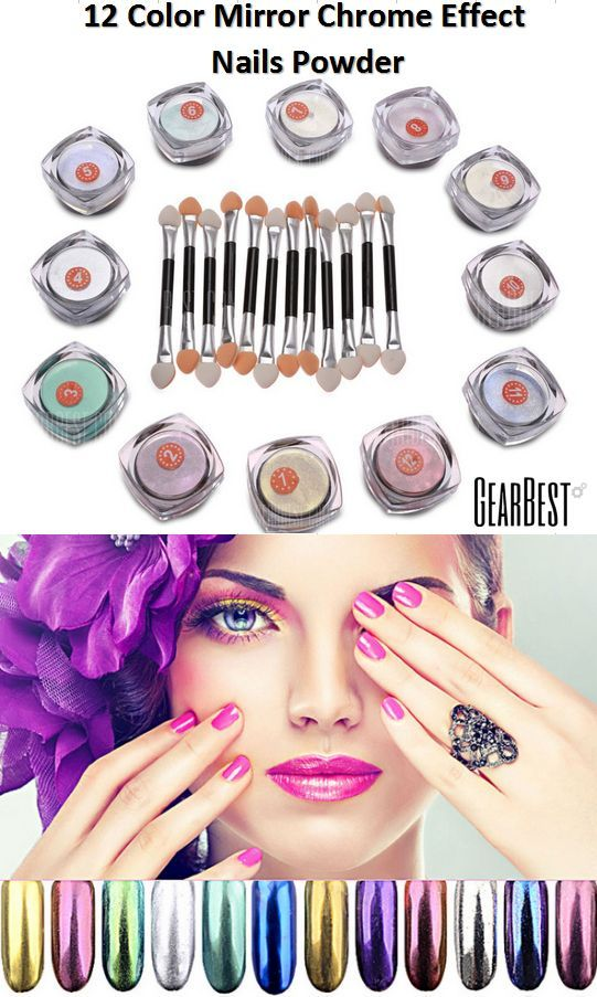 2 Color Mirror Chrome Effect Nails Powder - natural or artificial nails tool