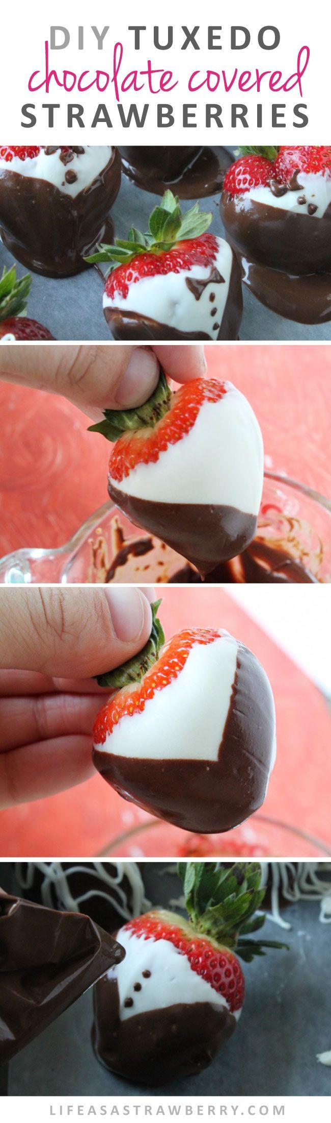 Tuxedo Chocolate Covered Strawberries | Make your own gourmet chocolate strawberries at home with this easy recipe and photo tutorial!